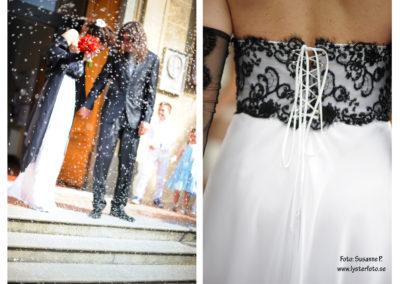 brudklänning och ris bröllops fotografering lysterart.com